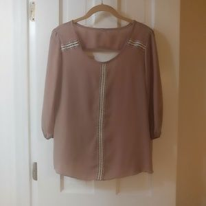 NWOT Tan Aztec Embroidered Peep Hole Back Blouse
